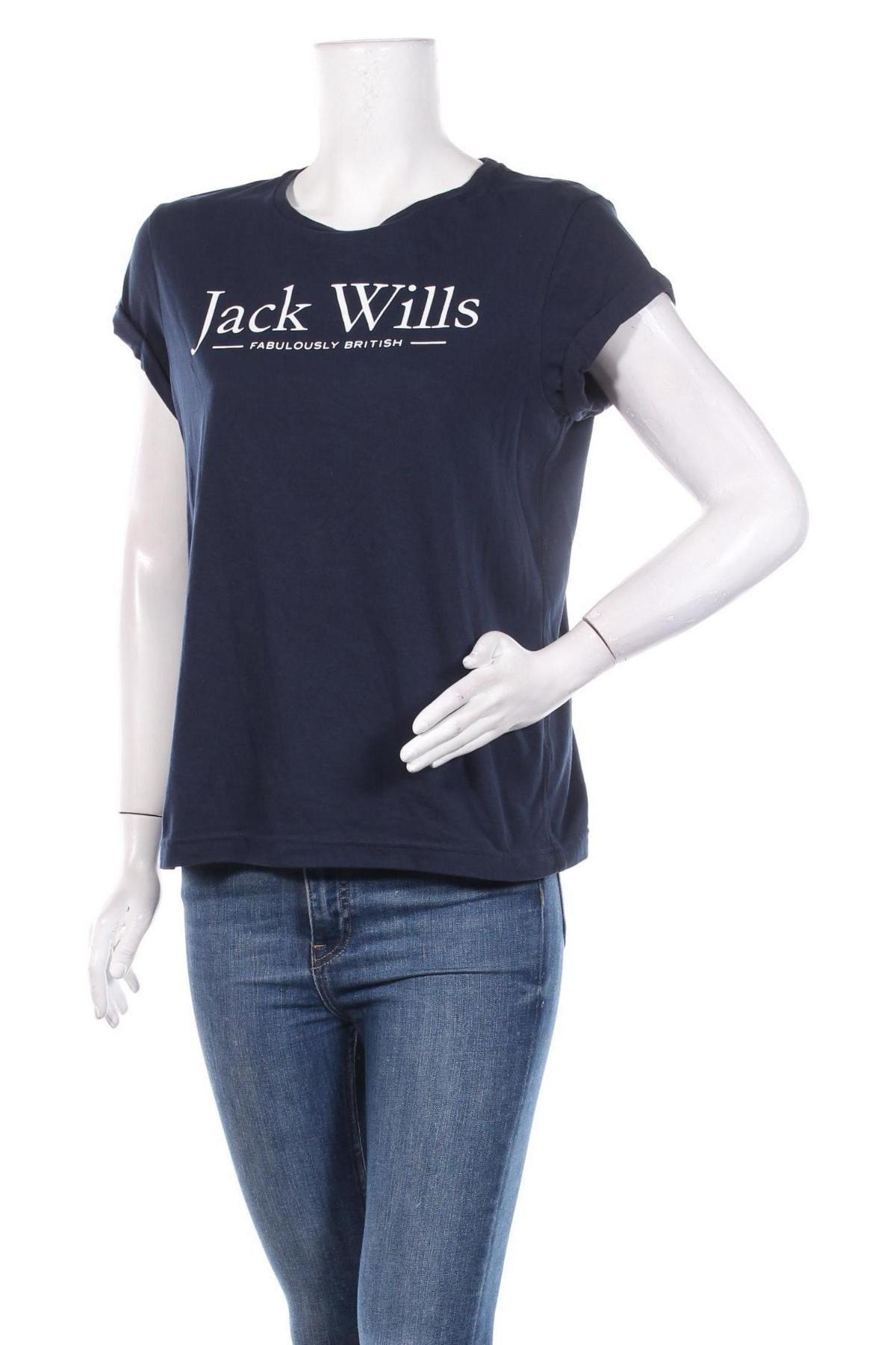 Дамска тениска Jack Wills, Размер M, Цвят Син, 60% памук, 40% полиестер, Цена 22,62лв.