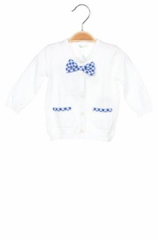 Детска жилетка United Colors Of Benetton, Размер 3-6m/ 62-68 см, Цвят Бял, Памук, Цена 37,80лв.