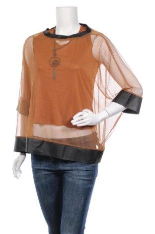 Γυναικεία μπλούζα Made In Italy, Μέγεθος M, Χρώμα  Μπέζ, 50% πολυεστέρας, 45% βισκόζη, 5% ελαστάνη, Τιμή 8,42€