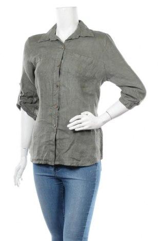 Дамска риза Made In Italy, Размер S, Цвят Зелен, Лен, Цена 30,16лв.