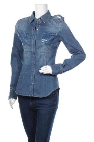 Дамска риза TWINSET, Размер S, Цвят Син, 98% памук, 2% еластан, Цена 72,80лв.