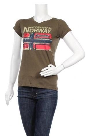 Дамска тениска Geographical Norway, Размер S, Цвят Зелен, Памук, Цена 32,45лв.