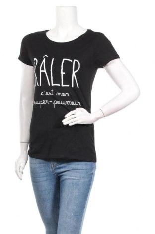 Дамска тениска, Размер M, Цвят Черен, 100% памук, Цена 23,00лв.