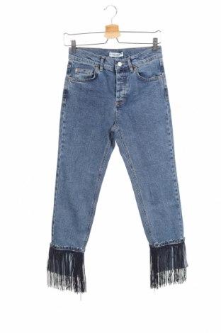 Дамски дънки Pull&Bear, Размер S, Цвят Син, 99% памук, 1% еластан, Цена 39,00лв.