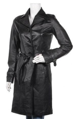 Дамски кожен шлифер Amisu, Размер XS, Цвят Черен, Естествена кожа, Цена 144,90лв.