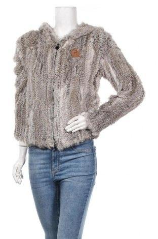 Дамско кожено яке Alprausch, Размер M, Цвят Сив, Естествен косъм, Цена 240,45лв.