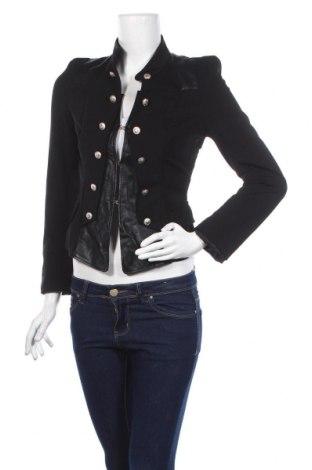 Дамско сако Attentif, Размер S, Цвят Черен, Полиестер, еластан, еко кожа, Цена 27,30лв.