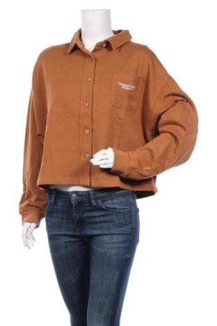 Дамско спортно горнище Pull&Bear, Размер M, Цвят Кафяв, Памук, Цена 30,80лв.