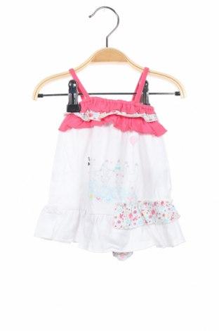 Детска рокля Grain De Ble, Размер 0-1m/ 50 см, Цвят Бял, 96% памук, 4% еластан, Цена 16,20лв.