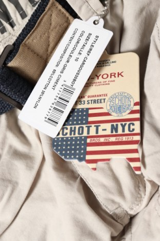 Παιδικό κοντό παντελόνι Schott, Μέγεθος 9-10y/ 140-146 εκ., Χρώμα  Μπέζ, 65% βαμβάκι, 35% πολυαμίδη, Τιμή 19,77€
