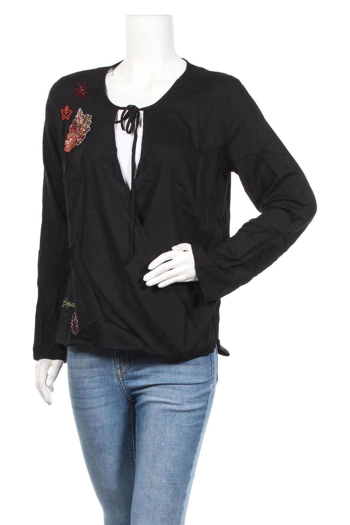 Дамска блуза Desigual, Размер XL, Цвят Черен, Вискоза, Цена 51,75лв.