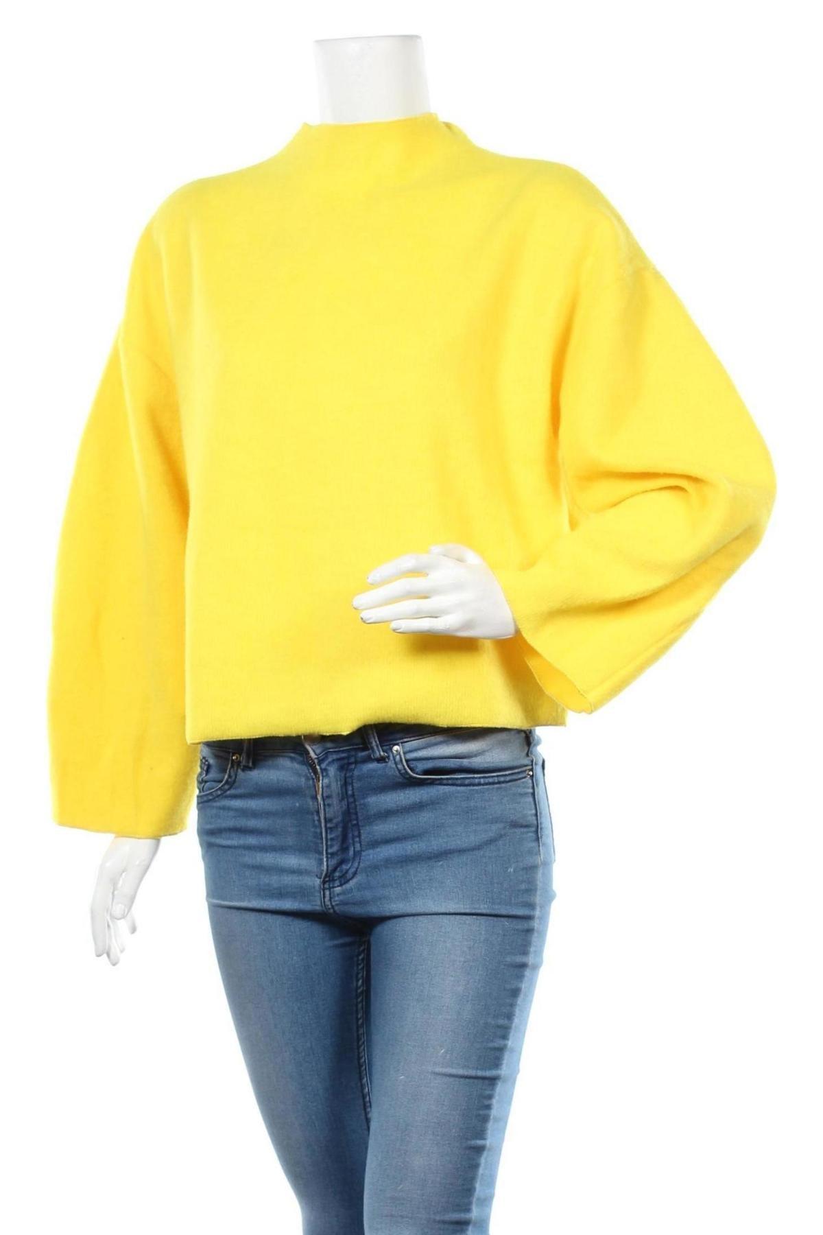 Дамска блуза Zara, Размер S, Цвят Жълт, 77% полиестер, 21% акрил, 2% еластан, Цена 36,75лв.