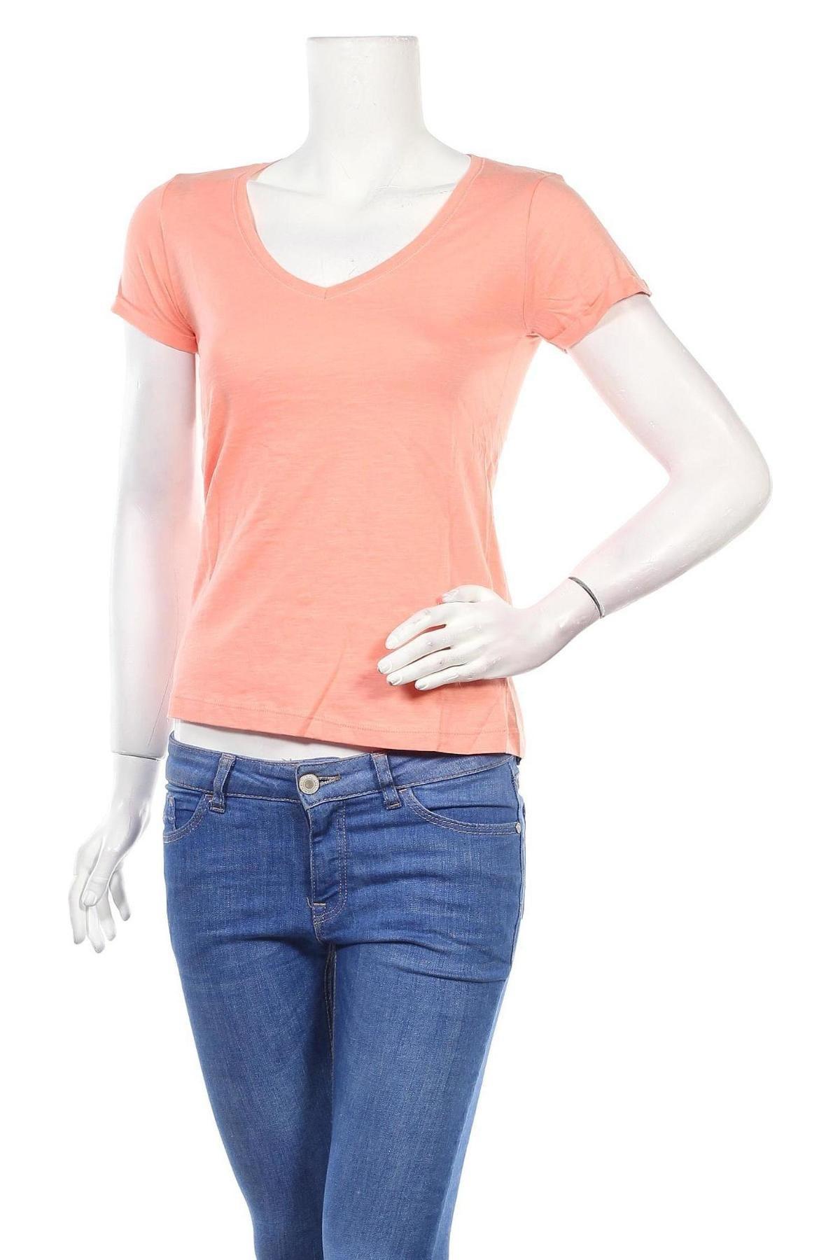 Дамска тениска Jennyfer, Размер S, Цвят Оранжев, Памук, Цена 15,08лв.