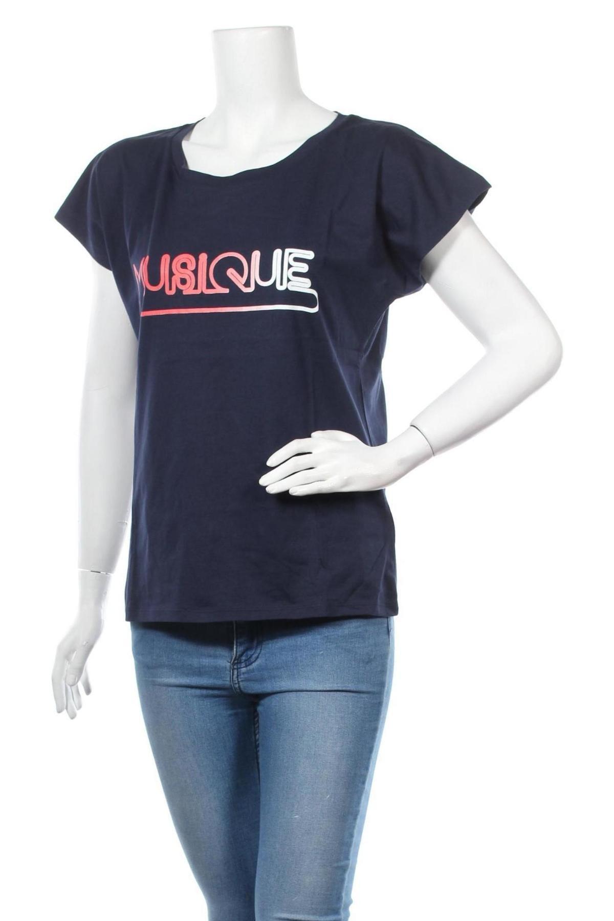 Дамска тениска La Petite Francaise, Размер L, Цвят Син, Памук, Цена 22,04лв.