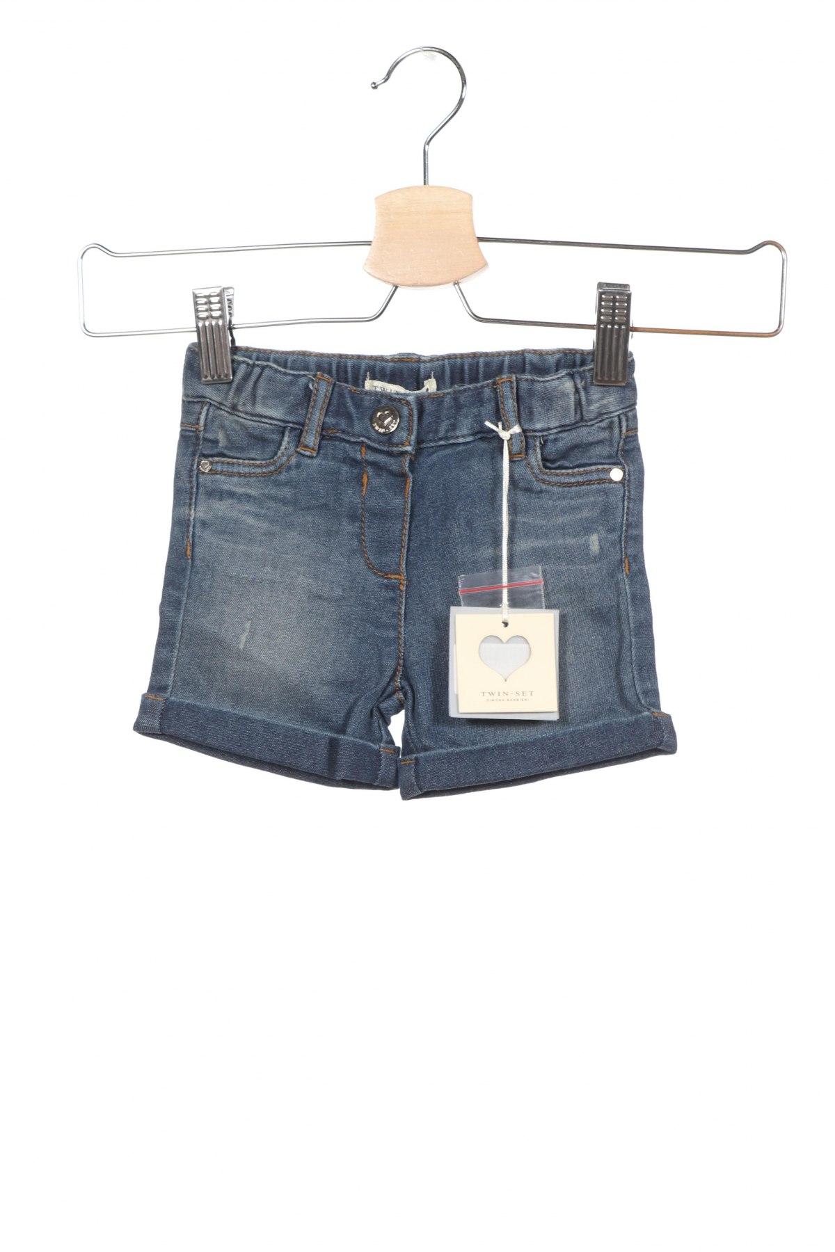 Παιδικό κοντό παντελόνι TWINSET, Μέγεθος 3-6m/ 62-68 εκ., Χρώμα Μπλέ, 85% βαμβάκι, 13% πολυεστέρας, 2% ελαστάνη, Τιμή 25,52€