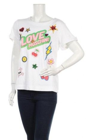 Γυναικείο t-shirt Love Moschino, Μέγεθος M, Χρώμα Λευκό, 72% βισκόζη, 26% πολυαμίδη, 2% ελαστάνη, Τιμή 46,57€