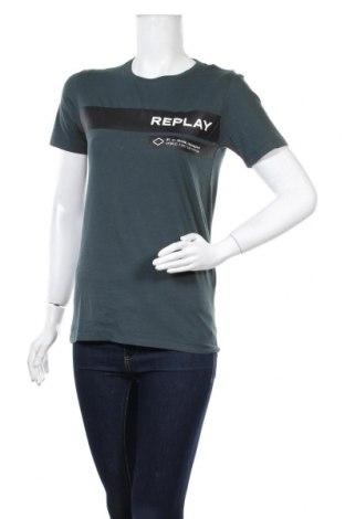 Дамска тениска Replay, Размер XS, Цвят Зелен, Памук, Цена 45,82лв.