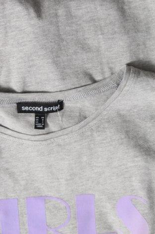 Дамска тениска Second Script, Размер S, Цвят Сив, Памук, Цена 16,96лв.