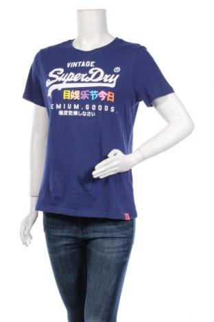 Дамска тениска Superdry, Размер M, Цвят Син, Памук, Цена 34,22лв.