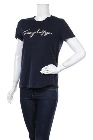Дамска тениска Tommy Hilfiger, Размер L, Цвят Син, Памук, Цена 51,80лв.