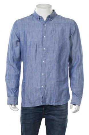 Ανδρικό πουκάμισο Knowledge Cotton Apparel, Μέγεθος L, Χρώμα Μπλέ, 70% βαμβάκι, 30% λινό, Τιμή 42,14€