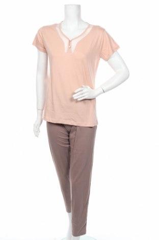 Пижама Francoise Saget, Размер M, Цвят Бежов, Памук, Цена 30,24лв.