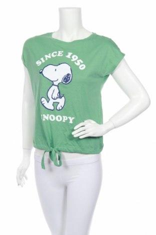 Пижама Peanuts, Размер XS, Цвят Зелен, Памук, Цена 26,56лв.