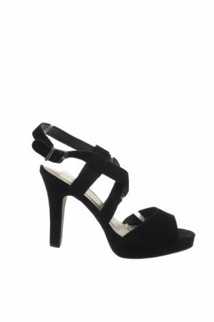 Sandály Pier One, Velikost 39, Barva Černá, Přírodní velur , Cena  516,00Kč