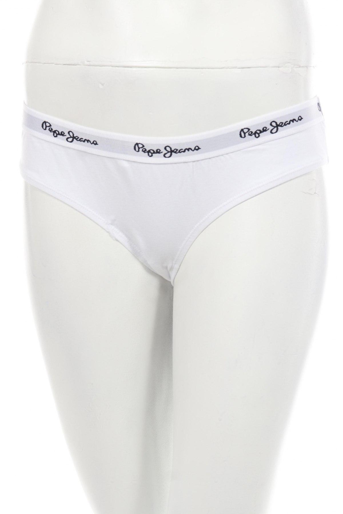 Бикини Pepe Jeans, Размер L, Цвят Бял, 95% памук, 5% еластан, Цена 29,90лв.