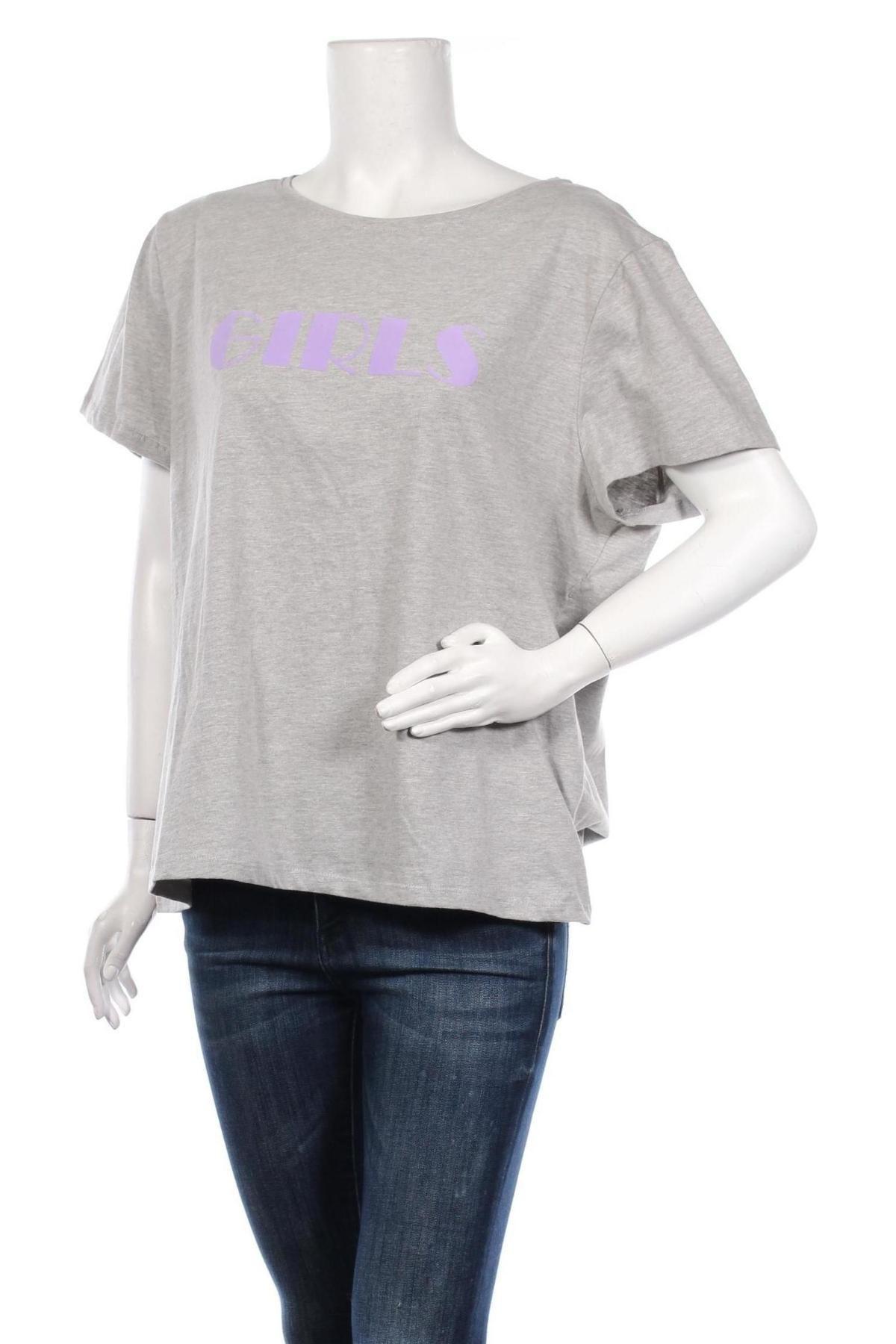 Дамска тениска Second Script, Размер XXL, Цвят Сив, Памук, Цена 16,96лв.