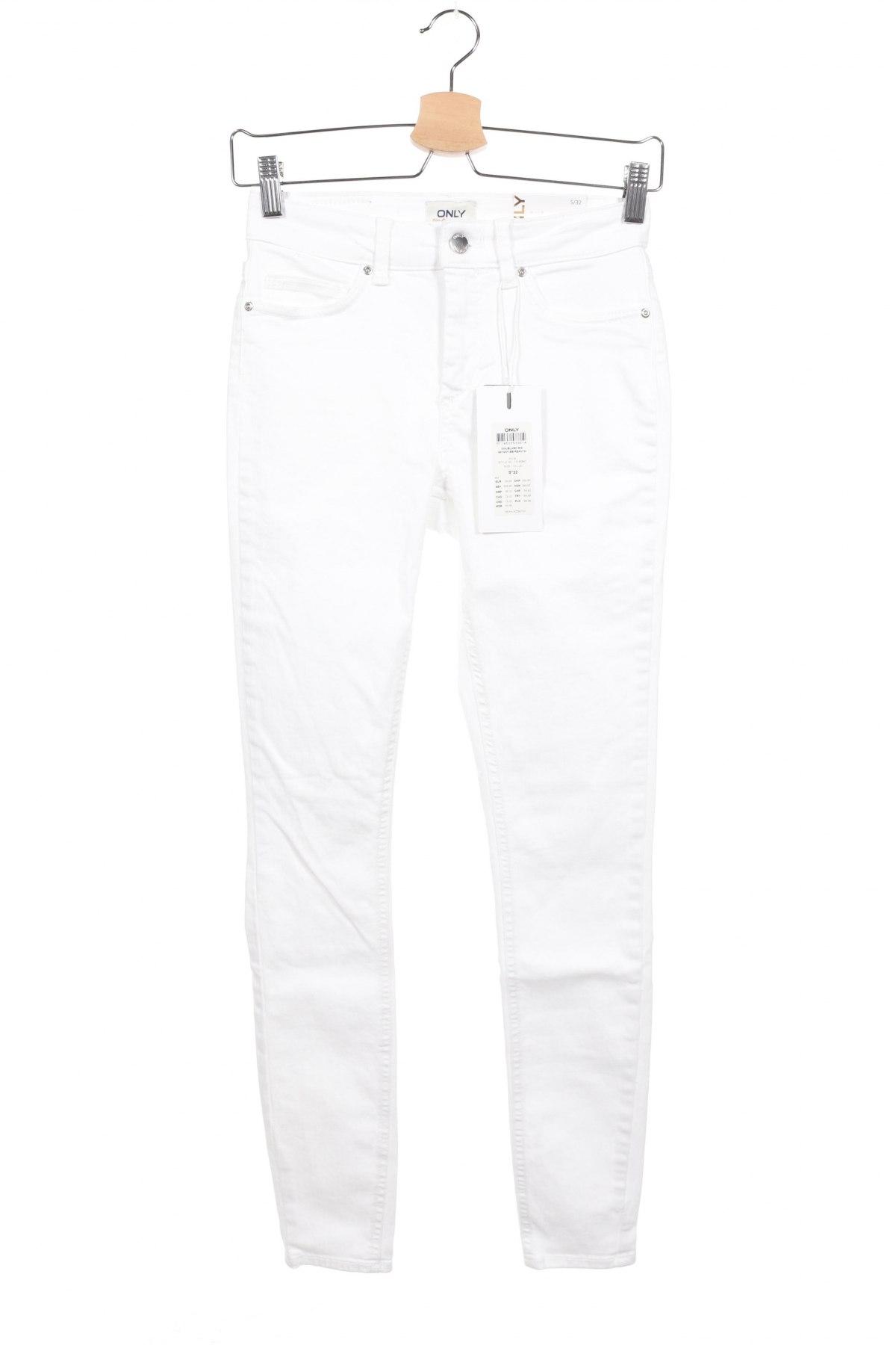 Дамски дънки ONLY, Размер S, Цвят Бял, Талия 70 см, външна дължина на крачола 100 см., Цена 44,85лв.