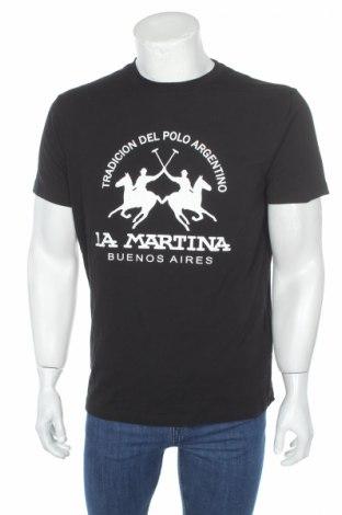 Tricou de bărbați La Martina, Mărime L, Culoare Negru, 95% bumbac, 5% elastan, Preț 127,60 Lei