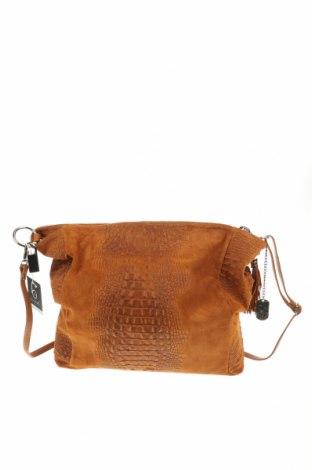 Дамска чанта Anna Morellini, Цвят Кафяв, Естествен велур, Цена 253,64лв.