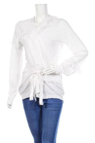 Дамска жилетка Stefanel, Размер L, Цвят Бял, 87% лен, 13% полиамид, Цена 17,16лв.