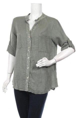 Γυναικείο πουκάμισο Made In Italy, Μέγεθος S, Χρώμα Πράσινο, Λινό, Τιμή 7,98€