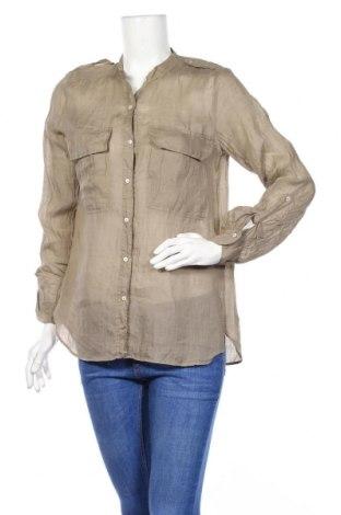 Дамска риза Zara, Размер M, Цвят Бежов, Рамия, Цена 35,09лв.