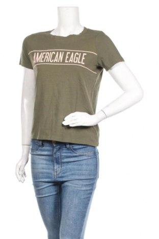 Дамска тениска American Eagle, Размер S, Цвят Зелен, Памук, Цена 18,56лв.