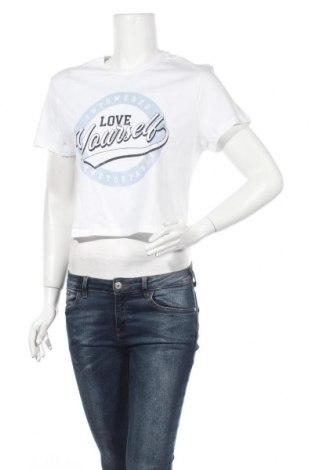 Γυναικείο t-shirt Stradivarius, Μέγεθος M, Χρώμα Λευκό, Βαμβάκι, Τιμή 4,65€