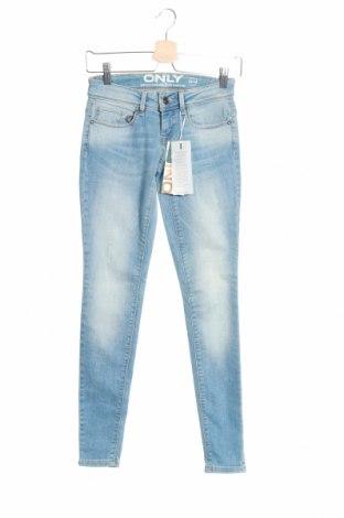 Дамски дънки ONLY, Размер XS, Цвят Син, 84% памук, 14% полиестер, 2% еластан, Цена 38,00лв.