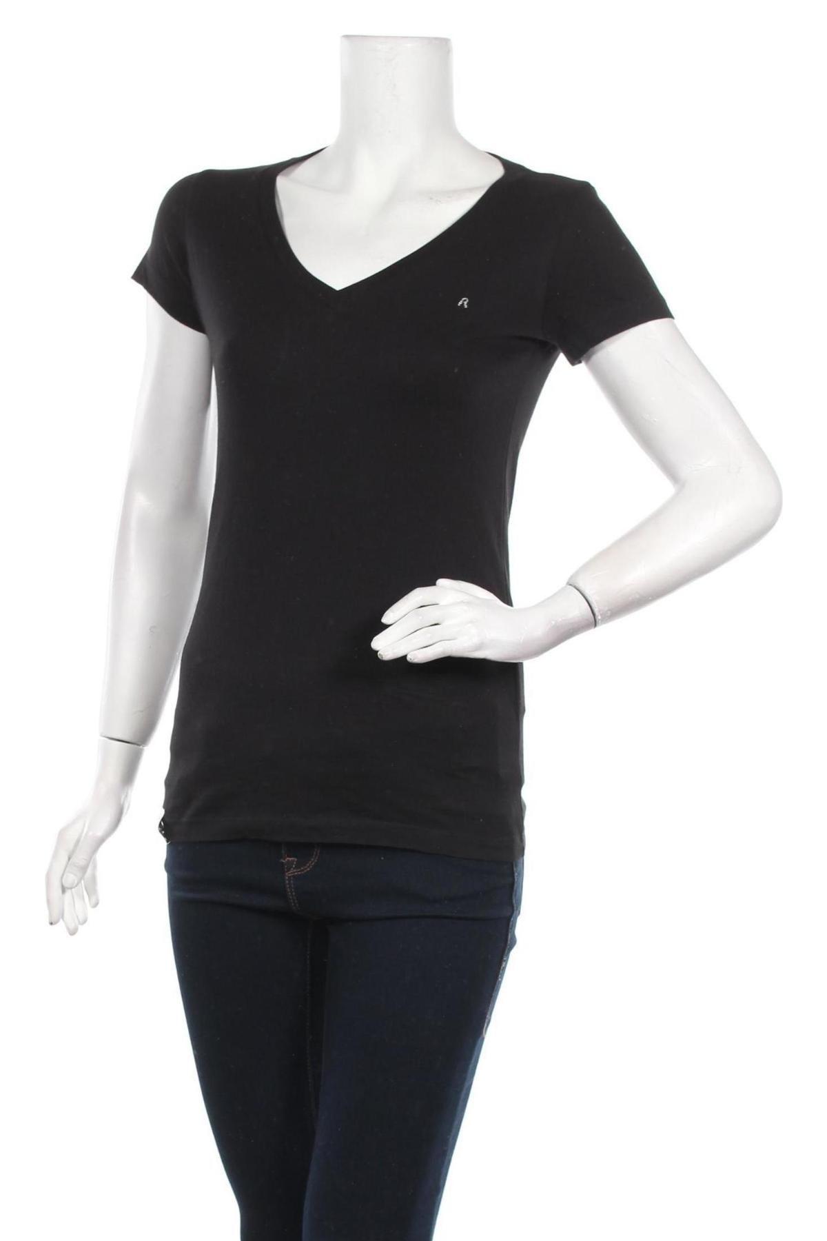 Дамска тениска Replay, Размер S, Цвят Черен, Памук, Цена 28,70лв.