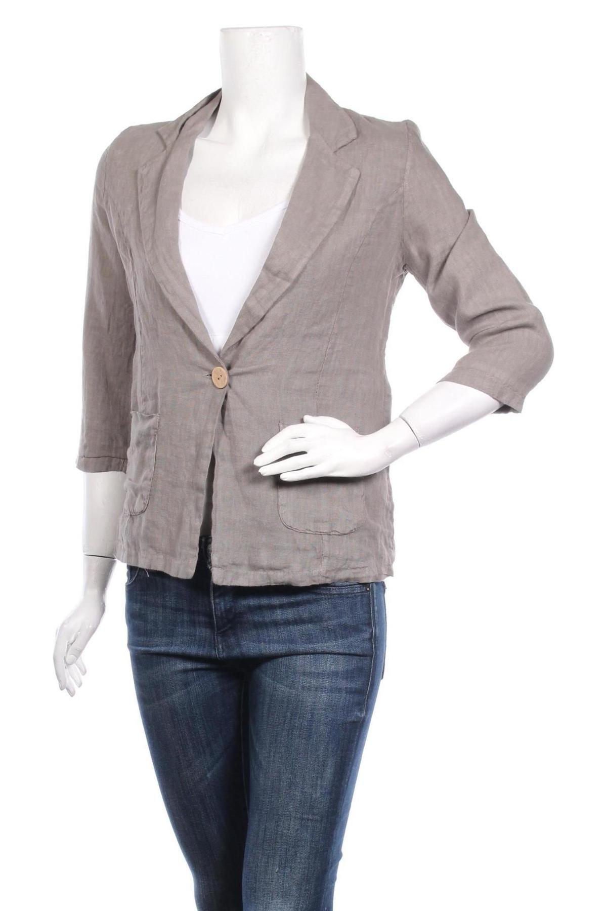 Дамско сако Made In Italy, Размер M, Цвят Бежов, Лен, Цена 40,02лв.