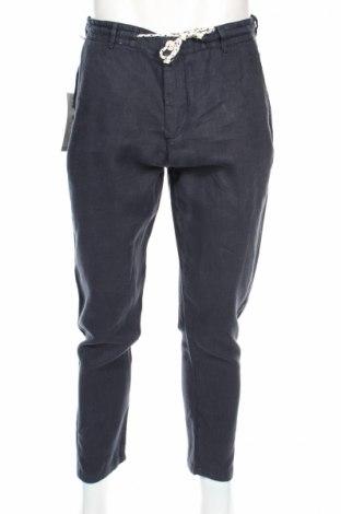 Męskie spodnie Zara Man, Rozmiar M, Kolor Niebieski, 100% len, Cena 61,82zł