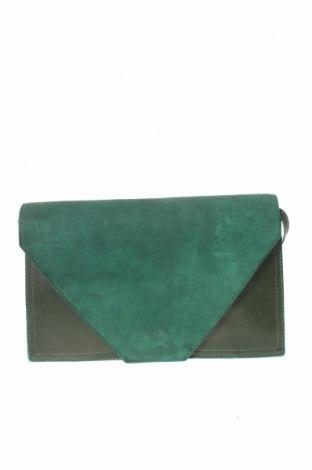 Дамска чанта, Цвят Зелен, Естествена кожа, естествен велур, Цена 36,86лв.