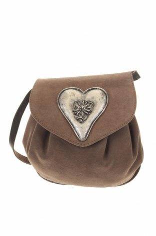 Дамска чанта, Цвят Бежов, Естествен велур, естествена кожа, Цена 27,93лв.