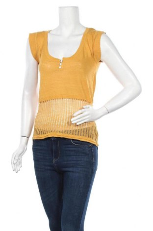 Дамски пуловер, Размер M, Цвят Жълт, 55% лен, 45% вискоза, Цена 19,32лв.