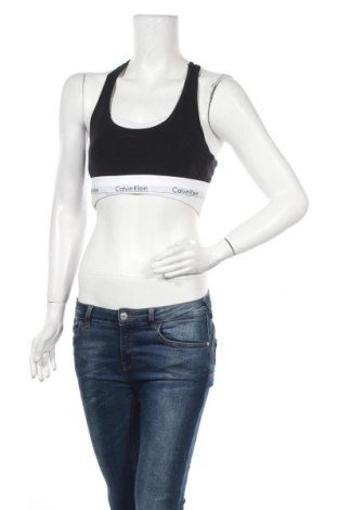 Дамски спортен топ Calvin Klein, Размер L, Цвят Черен, 53% памук, 35% модал, 12% еластан, Цена 30,09лв.