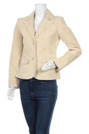 Дамско кожено сако Authentic Clothing Company, Размер M, Цвят Бежов, Естествен велур, Цена 43,31лв.