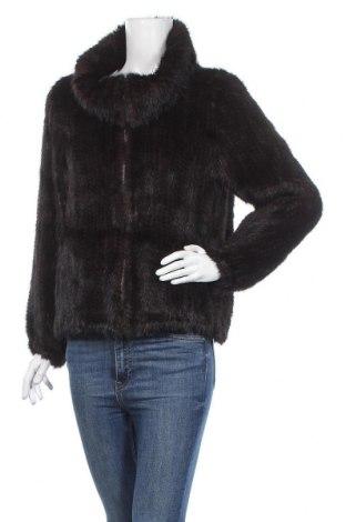 Дамско кожено яке, Размер M, Цвят Кафяв, Естествен косъм, Цена 112,42лв.
