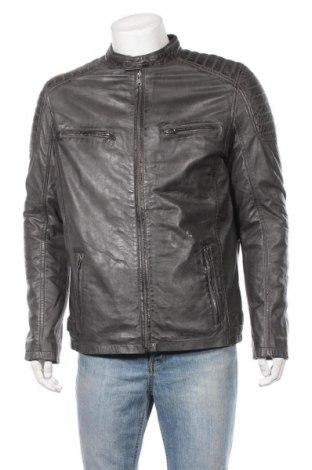 Мъжко кожено яке aim'n, Размер L, Цвят Сив, Естествена кожа, Цена 135,14лв.