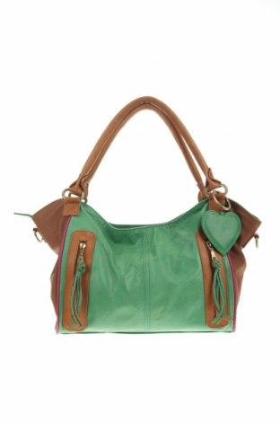 Дамска чанта, Цвят Зелен, Естествена кожа, Цена 47,88лв.